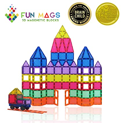 Fun-Mags Magnetic Blocks 100-Piece Set 3D Magnetic building Blocks, STEM Educational Magnetic Magna Tiles Magnet Toys for Kids, Toddlers