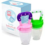 Baby Fruit Feeder Pacifier (2 Pack) - Fresh Food Nibbler, Infant Fruit Teething Toy, Silicone Pouches for Toddlers & Kids by Ashtonbee