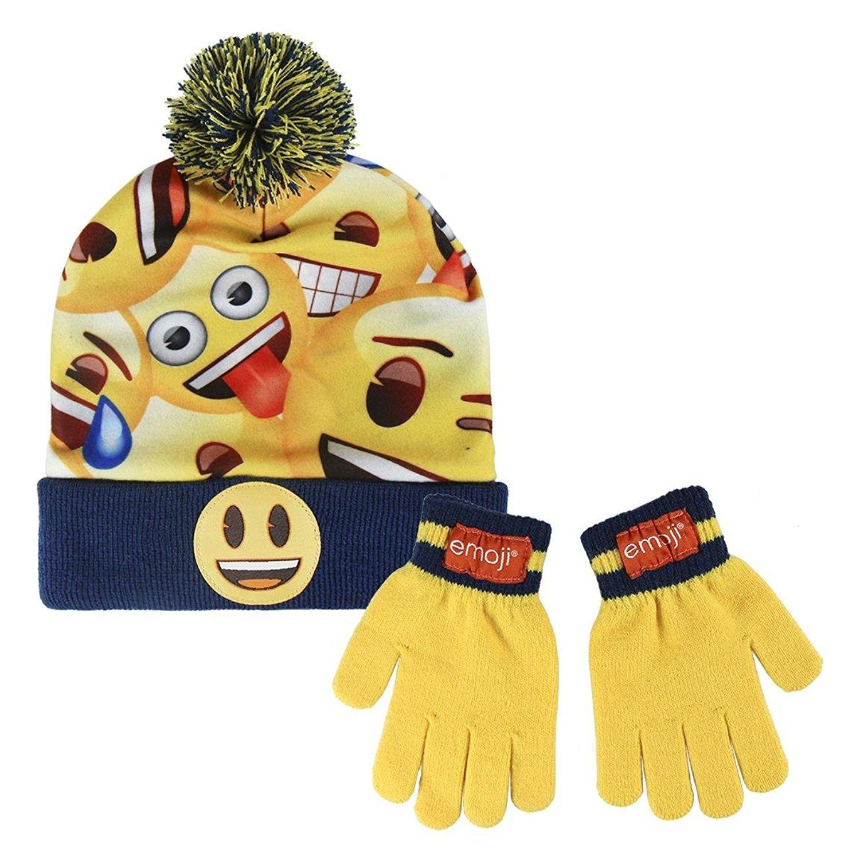 Cerdá Boy's Emoji Scarf, Hat & Glove Set, Yellow (Amarillo 001), One (Size: única) Cerdá Boy's Emoji Scarf 2200002559