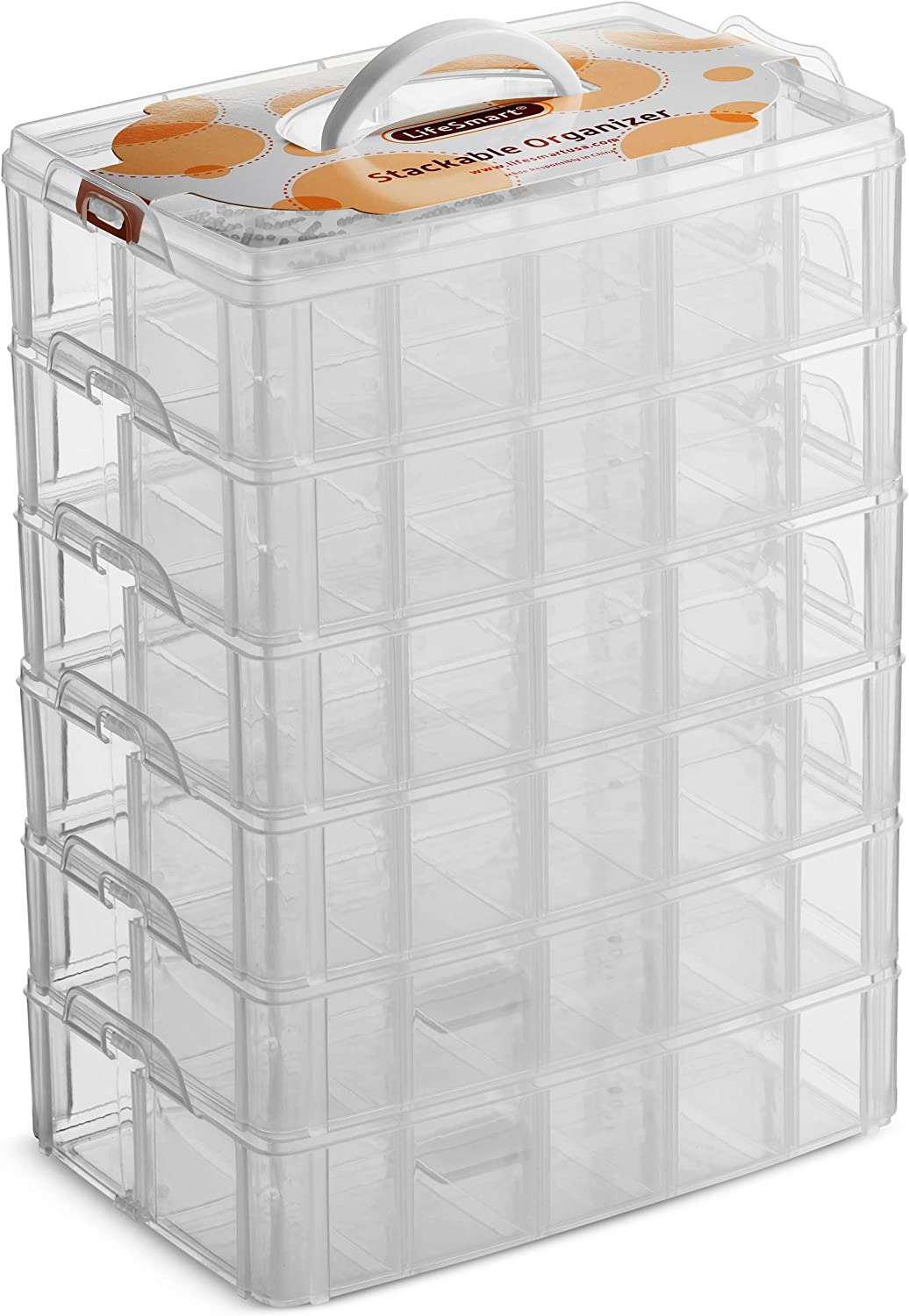 B07TTDM48K LifeSmart USA Stackable Storage Container Clear 60 Adjustable Compartments Compatible with Lego Dimensions Arts and Crafts Piping Tips Hardware Storage Not Suitable for Ornaments (Standard 6 Tier) 81NKwM2BURyL