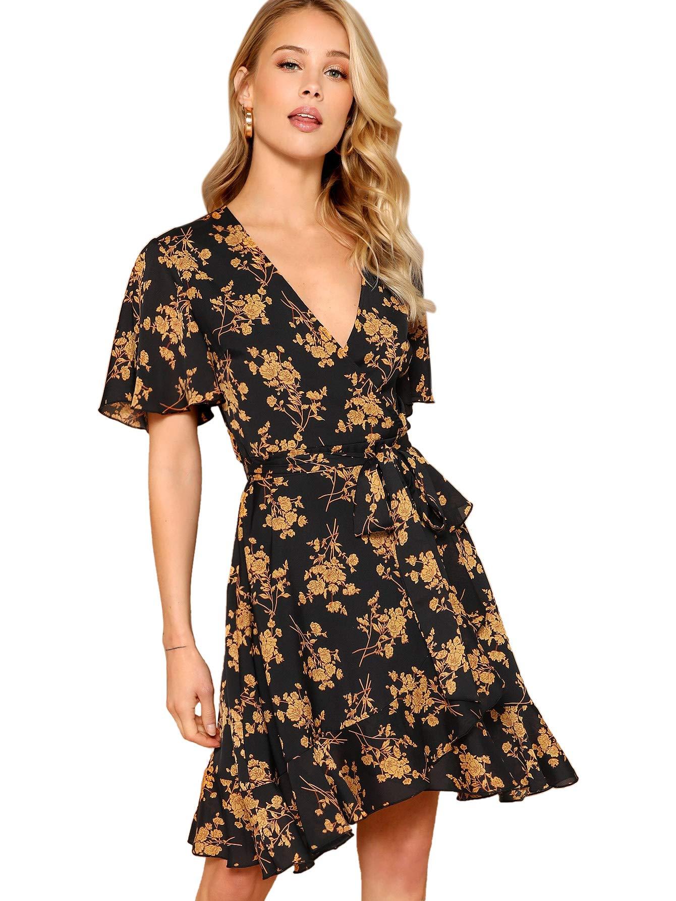 Milumia Women V Neck Wrap Belted Floral Print Summer Short Dress Multicolor-Black-3 M