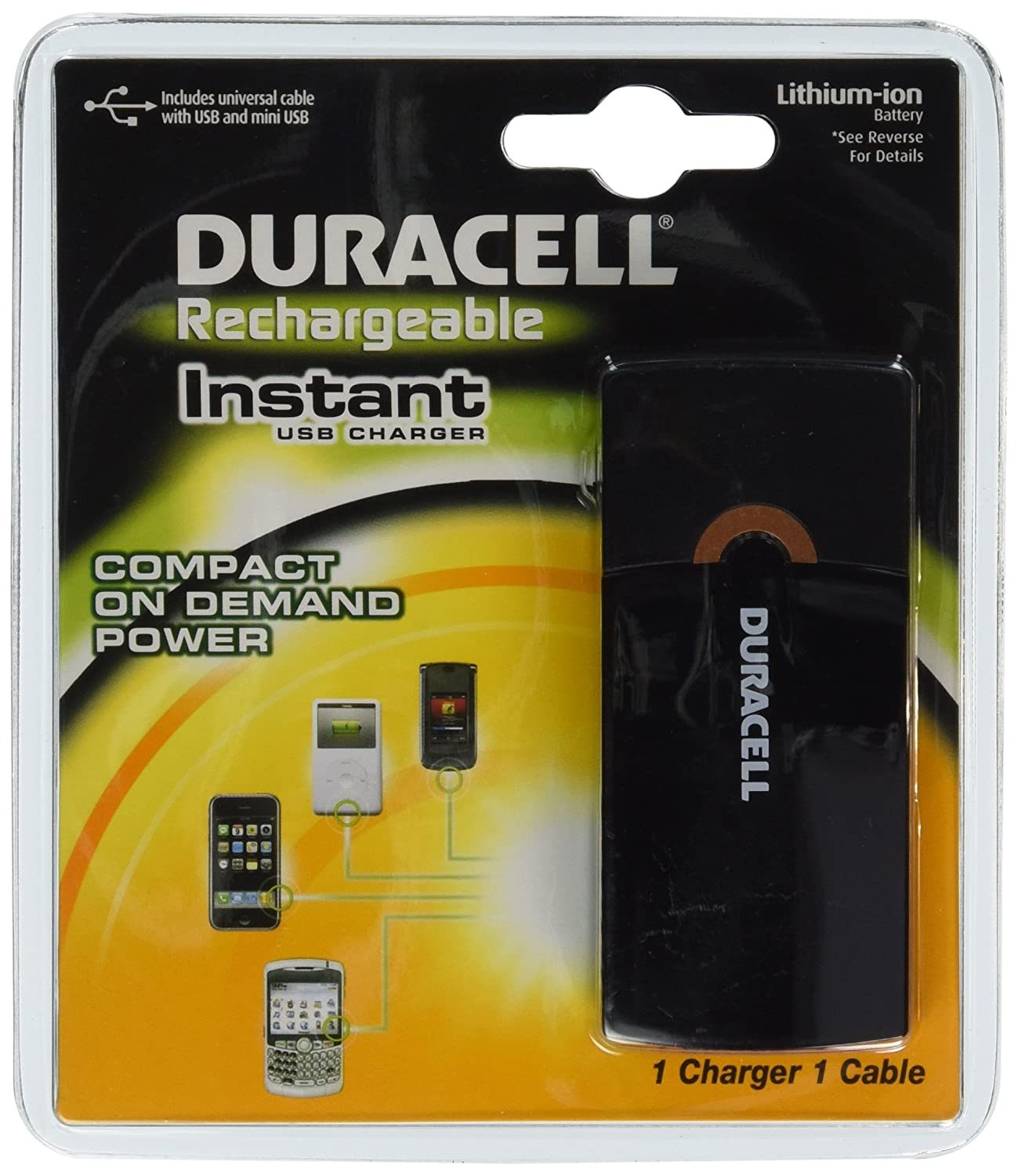 Amazon.com: Duracell Instant USB Charger/Includes Universal Cable with USB  & mini USB, 1 Count: Health & Personal Care