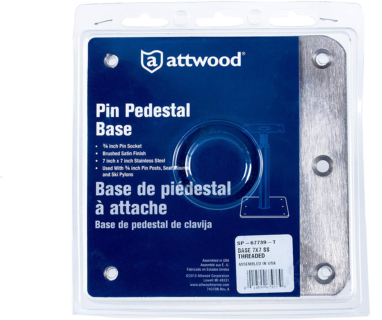 Swivl-Eze LockN-Pin Stainless Steel 7-Inch x 7-Inch Non Threaded Boat Seat Pedestal Base