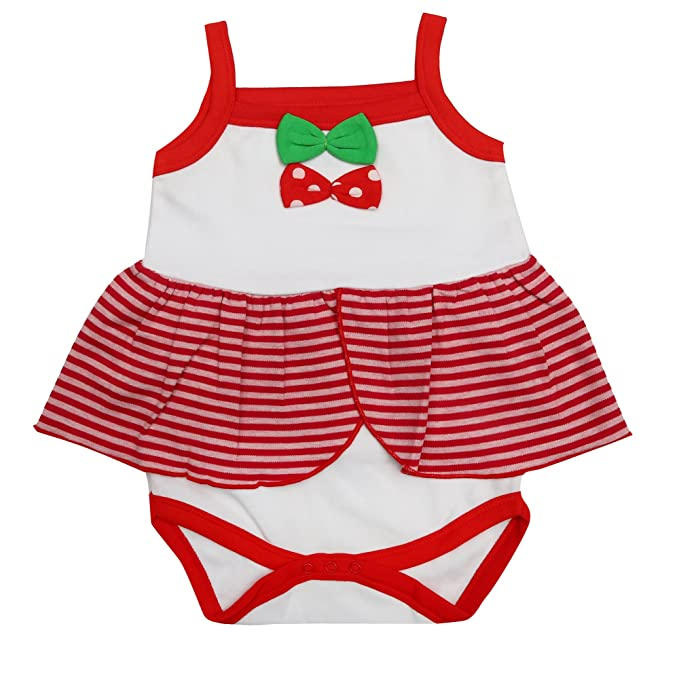 36292c87136b Kaboos Red and White Colour Frock Style Romper for Baby Girls (12-18 Months