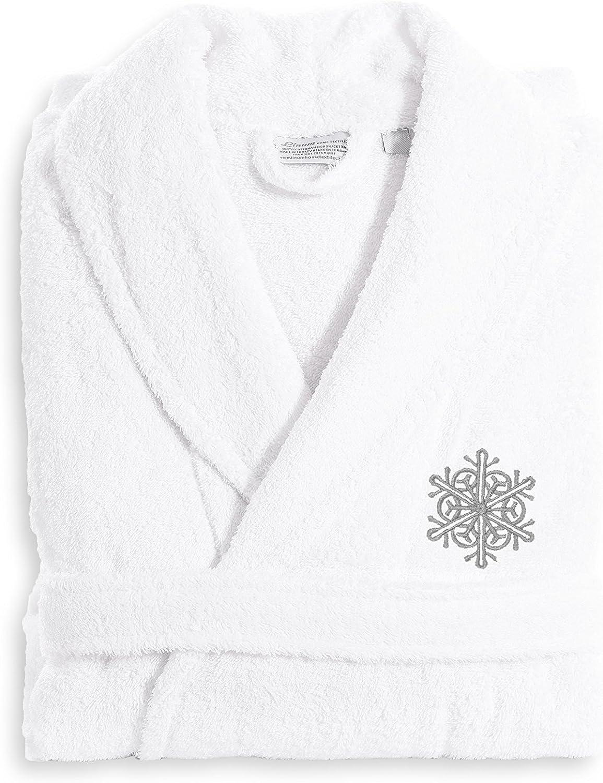 Linum Home Textiles TR00-LX-95-FLK Terry Robe Grey Snow Flake