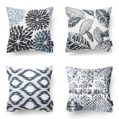 Phantoscope Living Series Decorative Throw Pillow Case Cushion Cover Black 18  x 18  Set of 4