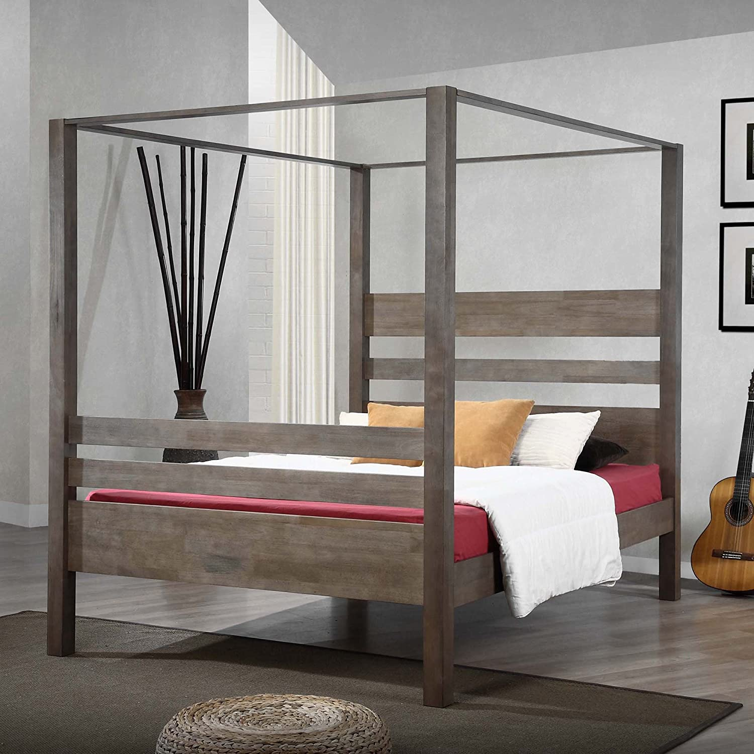 Amazon.com Metro Shop Marion Charcoal Grey Queen Canopy Bed-Marion Canopy Bed Queen Kitchen u0026 Dining & Amazon.com: Metro Shop Marion Charcoal Grey Queen Canopy Bed ...