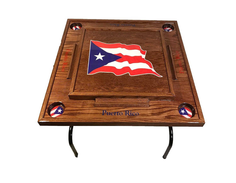 Puerto Rico Domino mesa con la bandera (Rojo caoba): Amazon.es ...