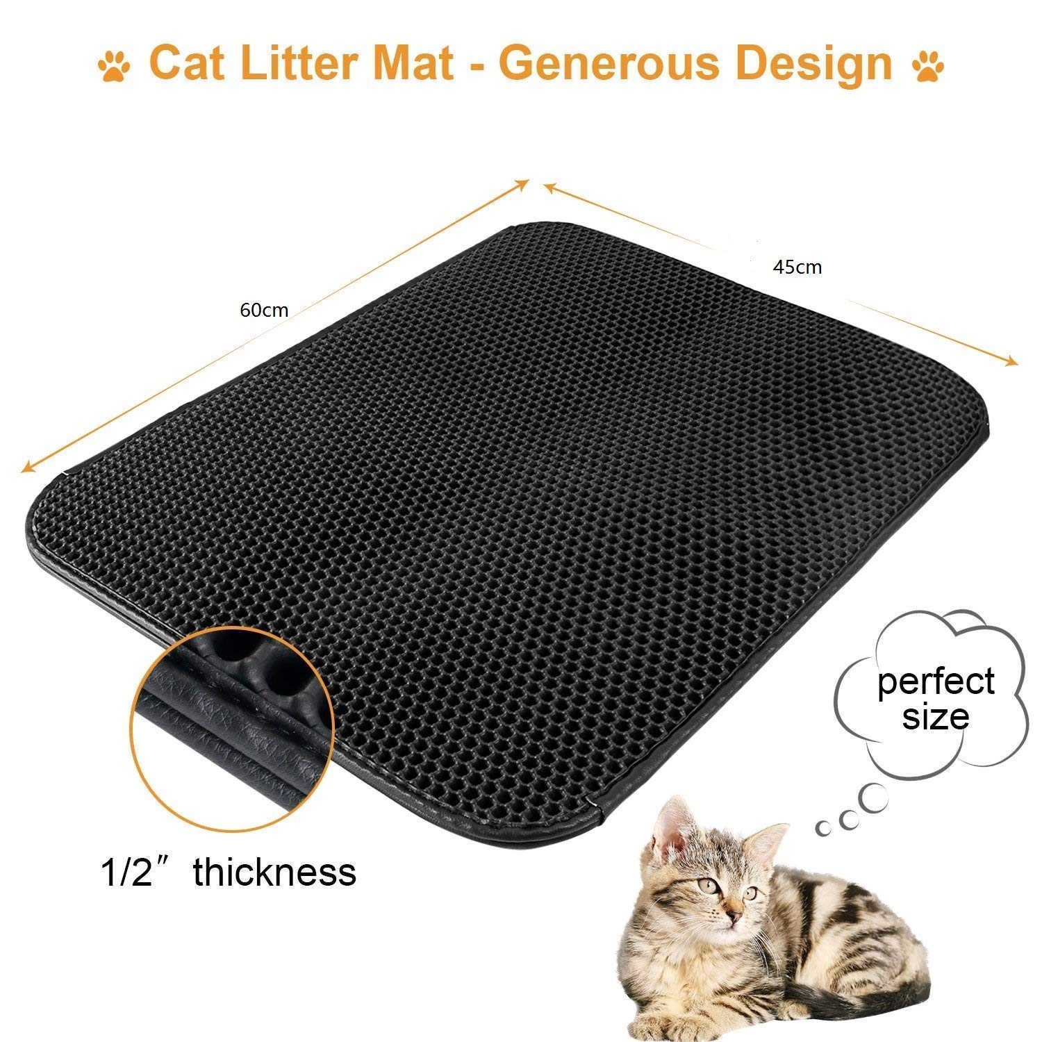 Non Toxic Trapper Rug Suitable for Litter Tray(Black) Widousy Cat Litter Mat Trapper 60 x 45 cm Honeycomb Double Layer Tapis Litiere Chat Easy Clean and Durable