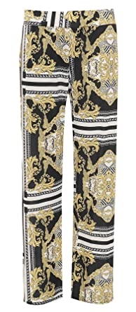 Womens Baroque Scarf Printed Palazzo Trousers Ladies Fancy Flared Wide Leg Pants