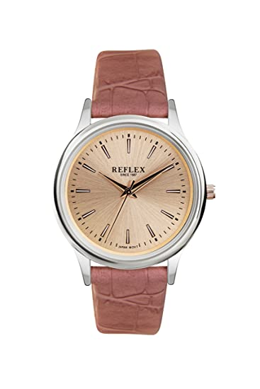 Reflex reloj de mujer con esfera grande de oro rosa con correa de pu rosa con