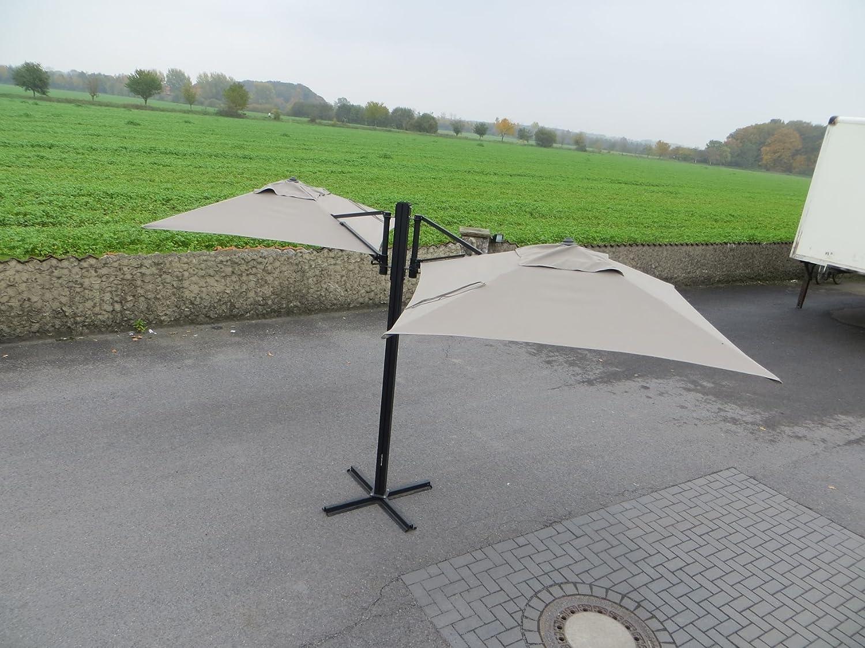 Madison Gastronomie Gartenschirm Murano II mit zwei separat verstellbaren Schirmen in taupe, UV-Schutz 40 Plus