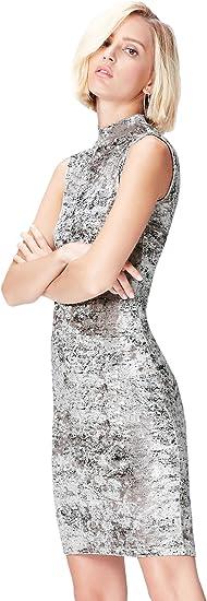 Marca Amazon - find. Vestido Ajustado de Terciopelo Mujer
