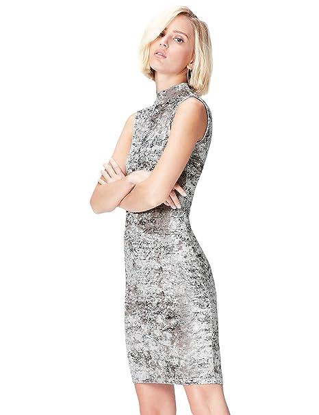 FIND 70498A vestido fiesta mujer, Gris (Grau), 36 (Talla del Fabricante