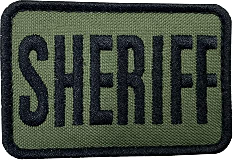 SHERIFF vest gear bag patch full hook backing 4 x 2 white on black