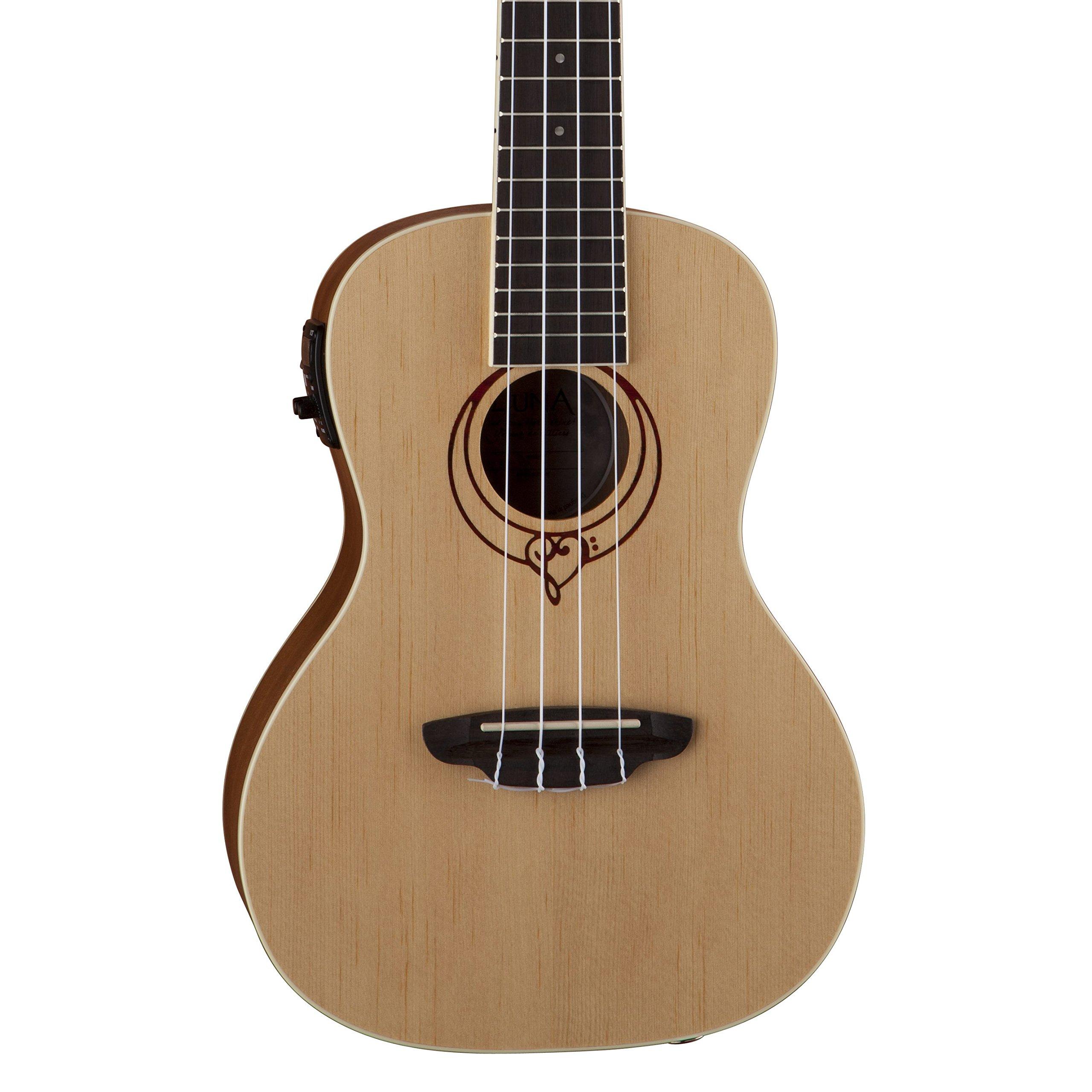 Luna Heartsong Spruce Acoustic/Electric Concert Ukulele with USB Preamp & Gig Bag, Satin Natural by Luna Guitars (Image #1)