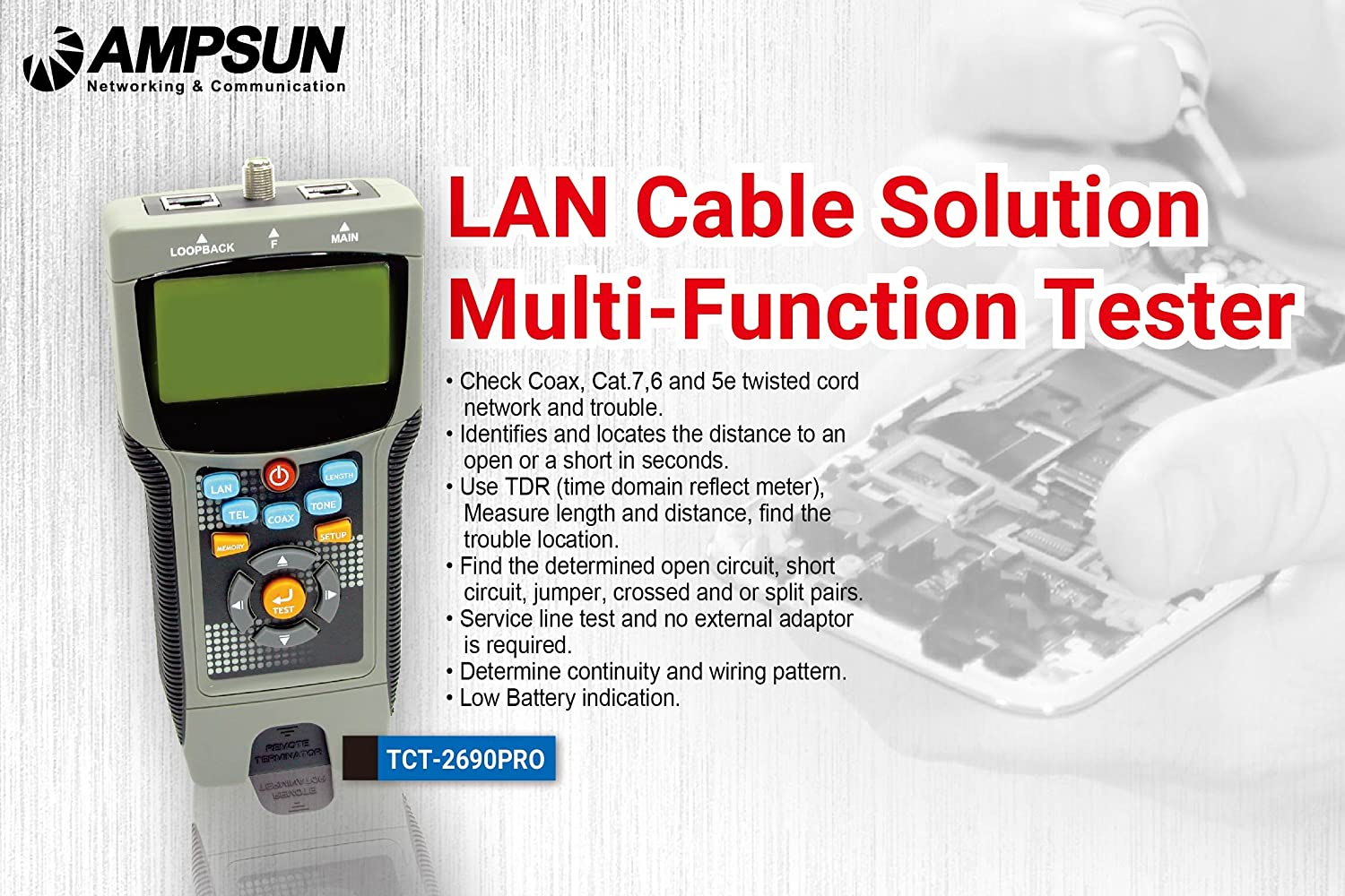 Ampsun Tct 2690pro Lan Cable Solution Multi Function Tester Amazon How To Find Short Circuit Business Industry Science