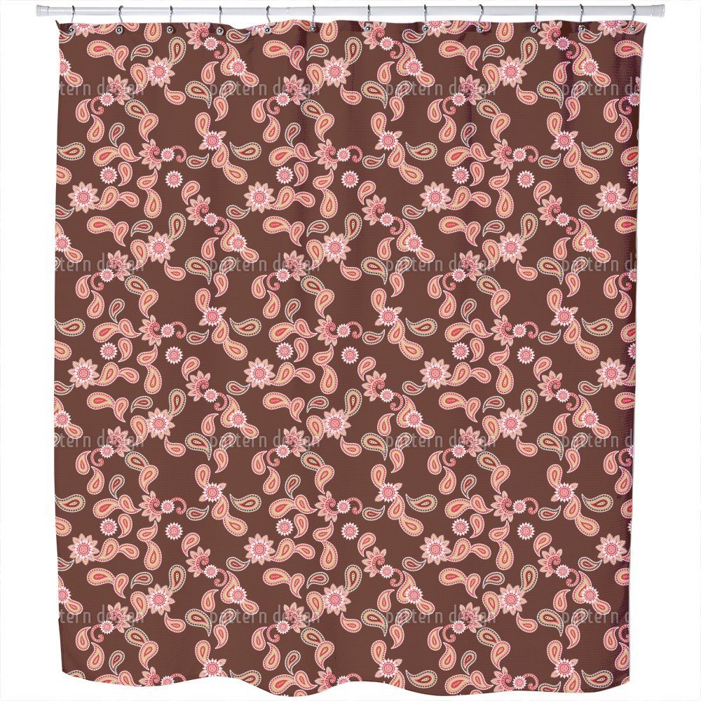 Uneekee Paisley In Brown Shower Curtain: Large Waterproof Luxurious Bathroom Design Woven Fabric