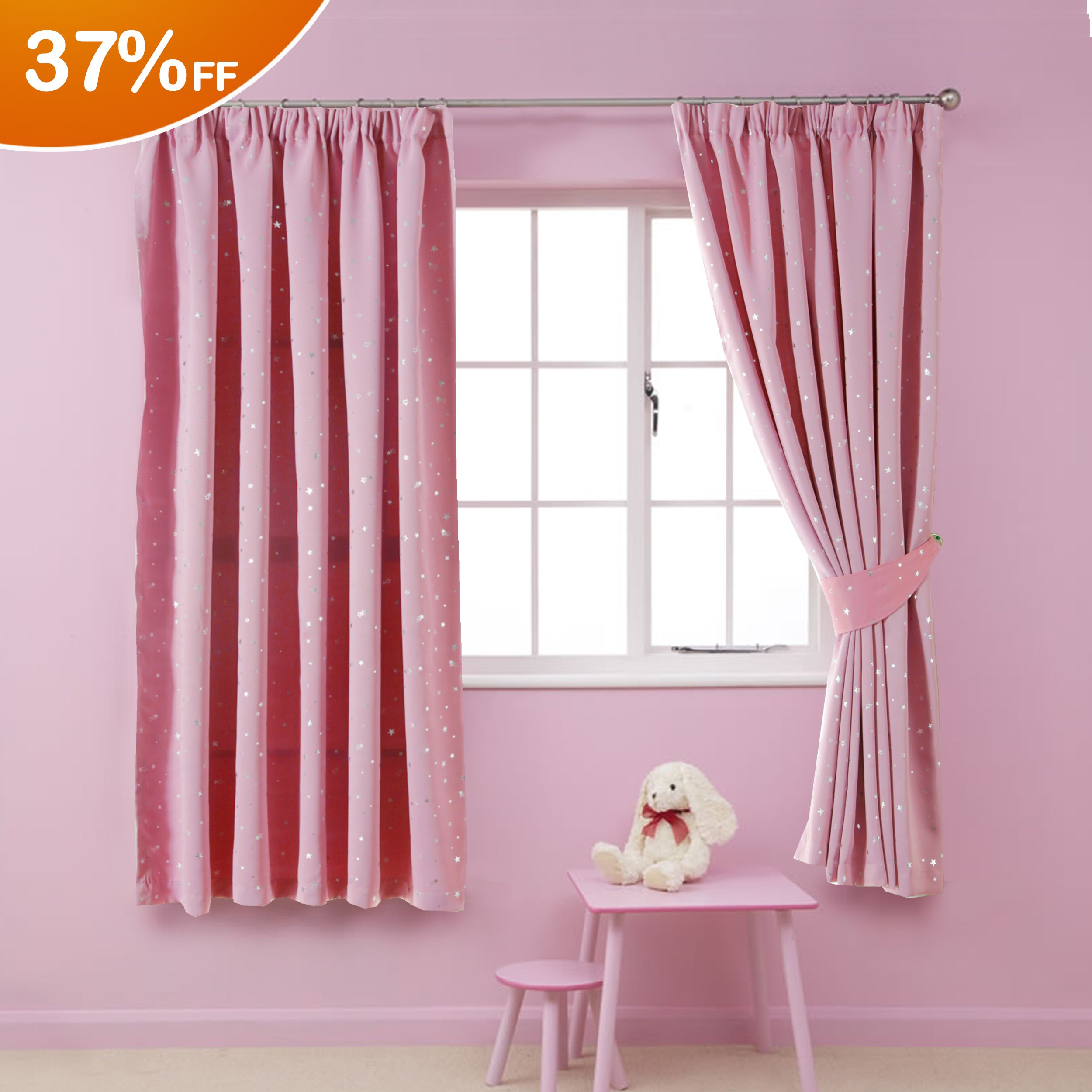 HVersailtex Printed Blackout Pencil Pleat Pair Light Reducing Microfiber Curtains For Children Thermal
