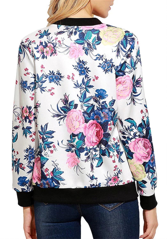 Betusline Womens Floral Print Classic Baseball Bomber Short Jacket Coat