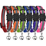 Upgraded Version - Reflective Cat Collar with Bell, Set of 6, Solid & Safe Collars for Cats, Nylon, Mixed Colors, Pet Collar,