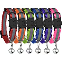 Upgraded Version - Reflective Cat Collar with Bell, Set of 6, Solid & Safe Collars for Cats, Nylon, Kitty Collars, Pet…