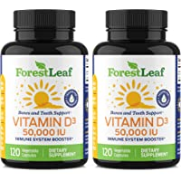 Vitamin D3 50,000 IU Weekly Supplement - 240 Vegetable Capsules - For Bones, Teeth, Immune System and Muscle Function…