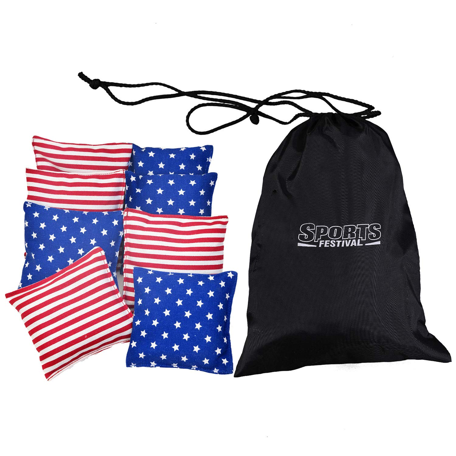 LOKATSE HOME 8 Regulation Cornhole Bags All Weather (Stars & Stripes ) by LOKATSE HOME