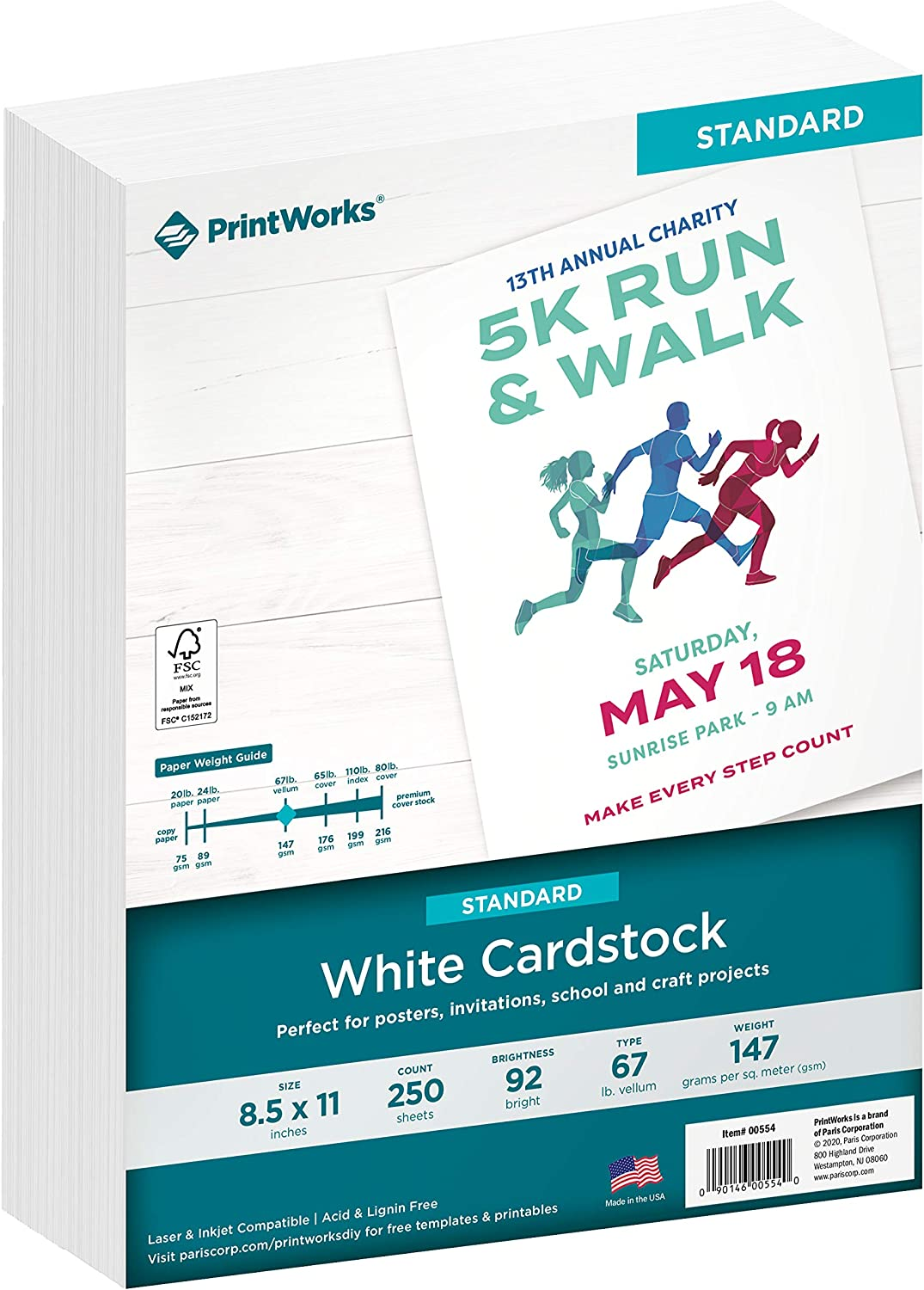Printworks White Cardstock, 67 lb, 92 Bright, FSC Certified, Perfect for School and Craft Projects, 8.5 x 11 Inch, 250 Sheets (00554),White, 250 Sheets