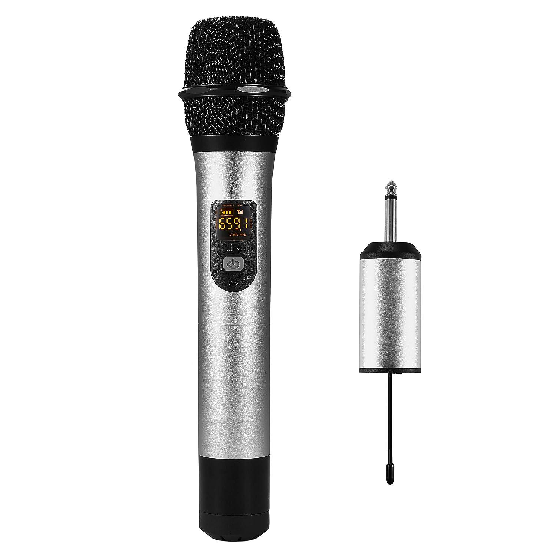 Microphone Dynamique Sans Fil Professionnel Portable avec Récepteur, pour Karaoké Familial, Les Promotions du Centre Commercial, Discours en Plein Air, Cérémonie Amgaze