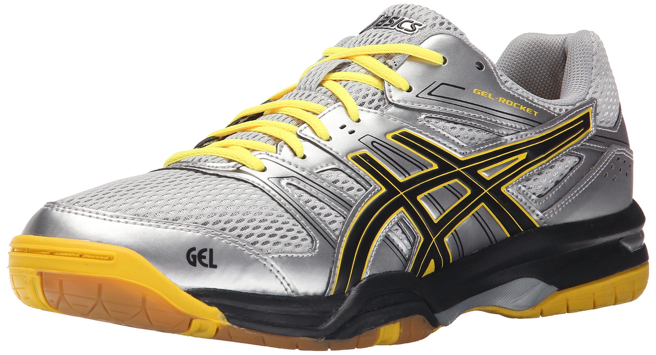 Asics Men's Gel-Rocket 7 Indoor Court Shoe, Silver/Onyx/Neon Yellow, 11 M US