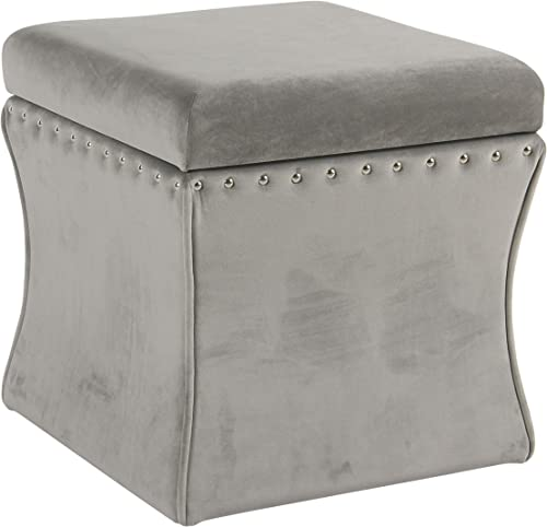 Spatial Order Miller Modern Cinch Velvet Storage Ottoman with Nailhead Trim, Grey