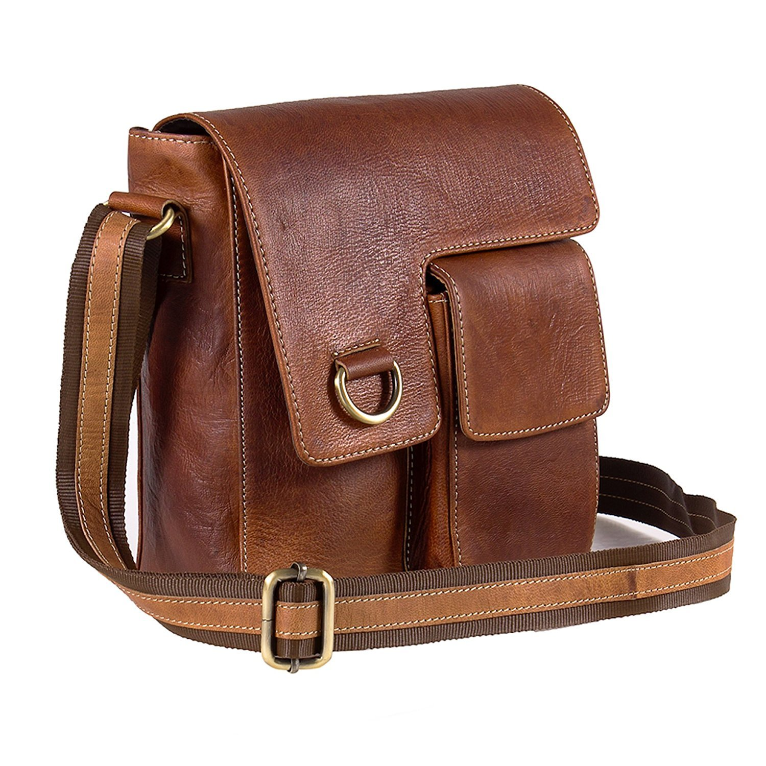 TUZECH Pure Leather Modern Styled Faded Handy Messenger Bag Fits Laptop Upto 13.3 Inches