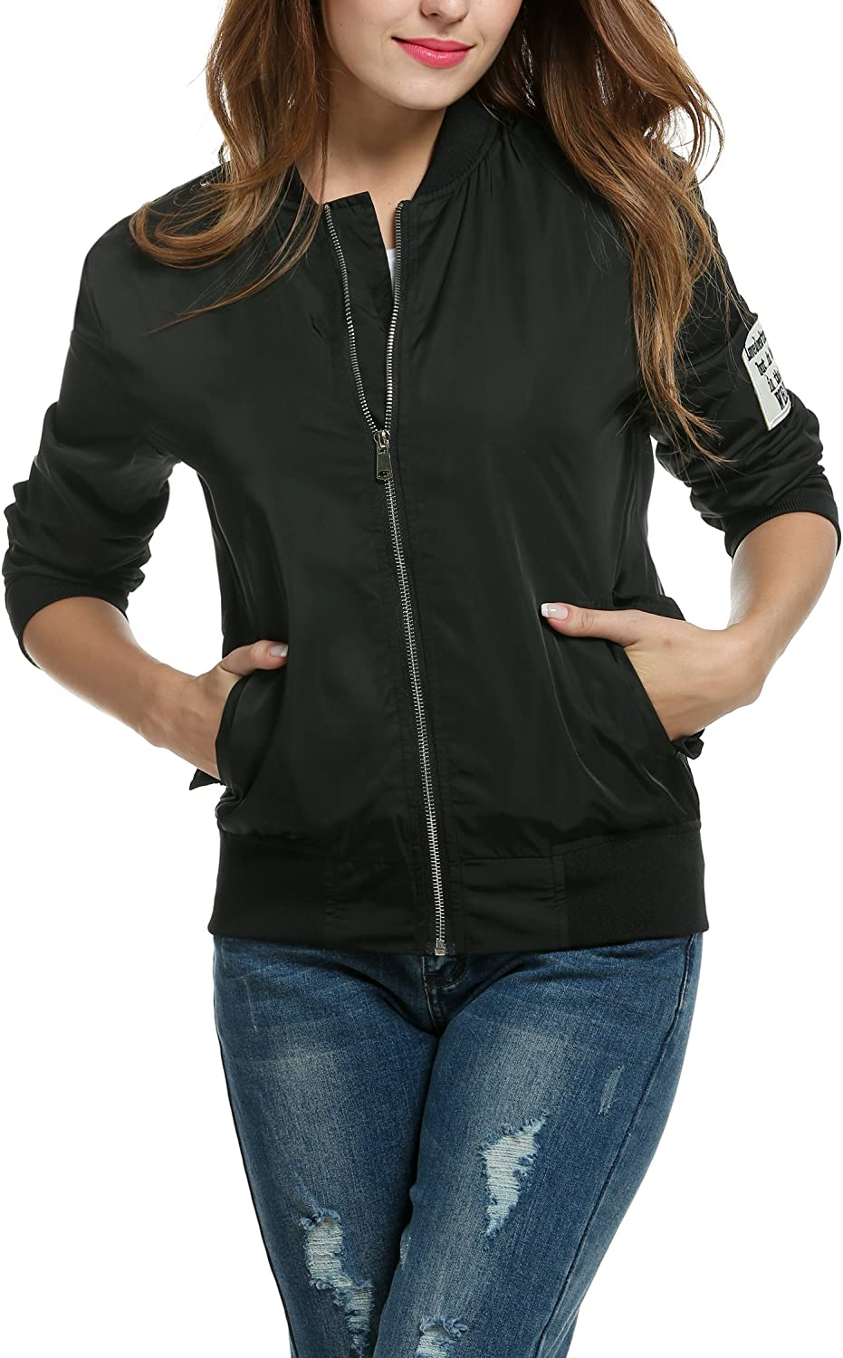 Meaneor Women Classic Quilted Zip UP Jacket Short Bomber Long Sleeve Jacket Coat
