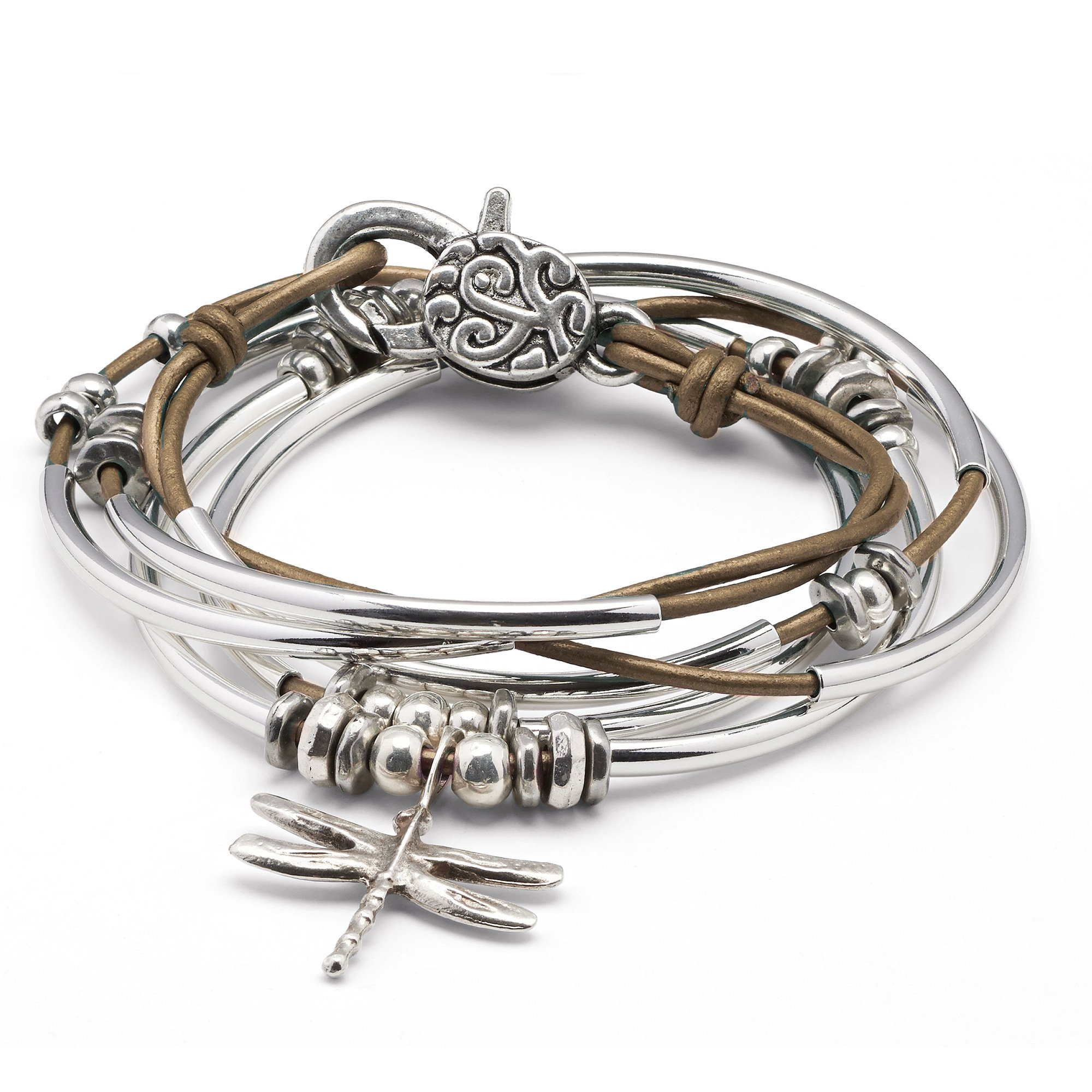 Lizzy James Dragonfly Charm Metallic Bronze Leather Wrap Bracelet Necklace in Silver Plate (Petite)