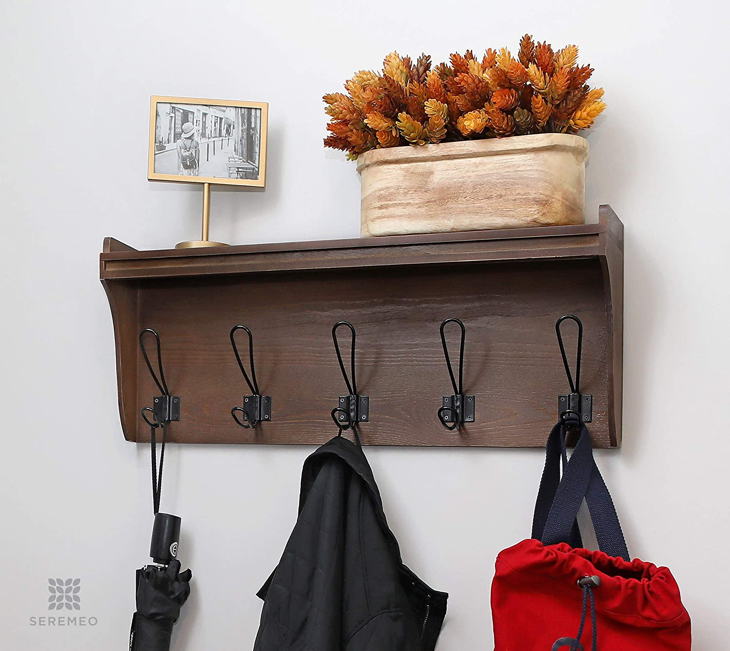 """Seremeo Wall Mounted Coat Rack Shelf – Rustic Brown or Grey 26"""" Entryway Shelf with 5 Coat Hooks - Solid Pine Wood - Ideal for Your Entryway, Mudroom, Bathroom or More."""