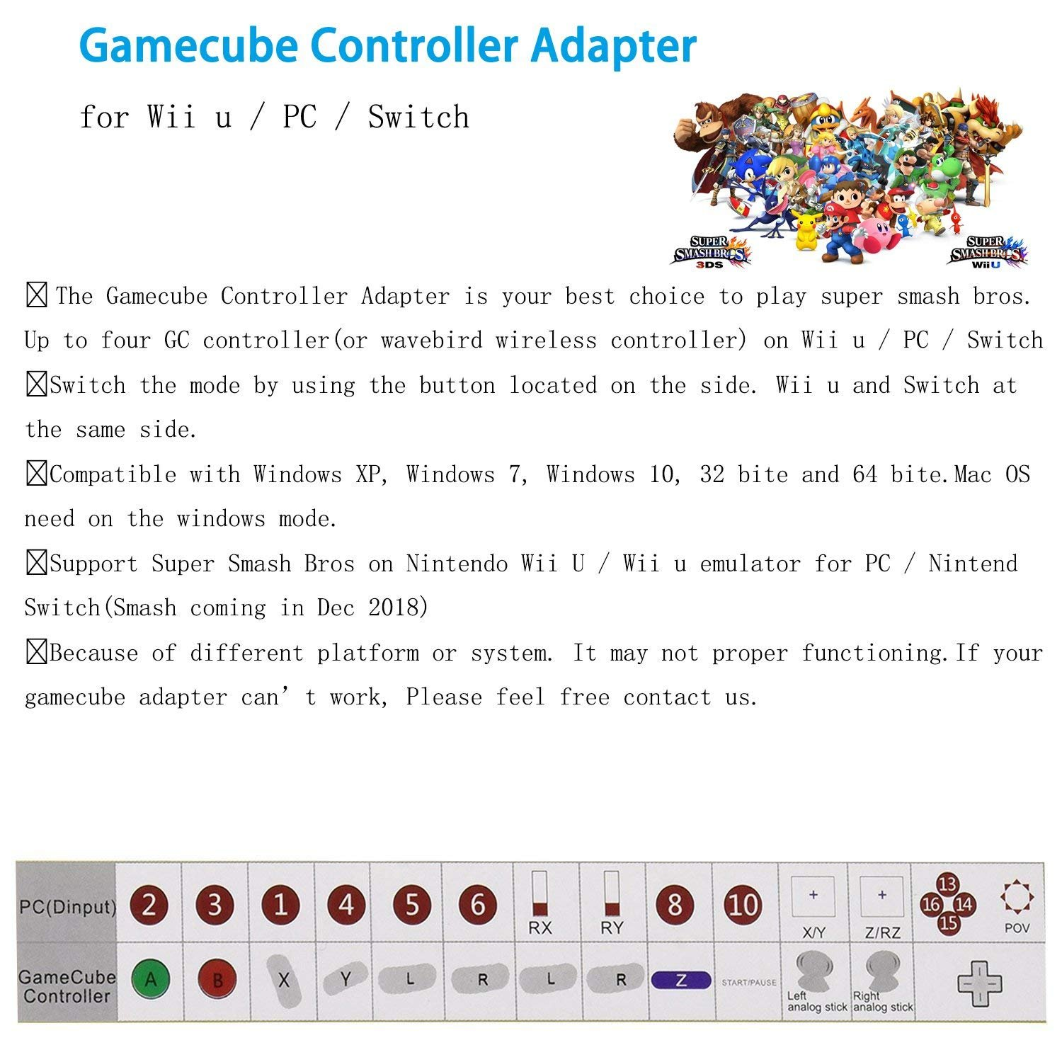 Gamecube Controller Adapter. Super Smash Bros Wii U Gamecube Adapter for Pc, Switch. No Driver Need and Easy to Use. 4 Port Black Gamecube Adapter(Improved Version) by Cloudream (Image #6)