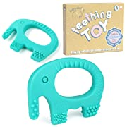 Baby Teething Toys - BPA Free Silicone - Easy to Hold, Soft, Bendable, Highly Effective Elephant Teether, Best for Freezer, Cool Girl Or Boy 3 6 12 Months 1 Year Old Stocking Stuffers