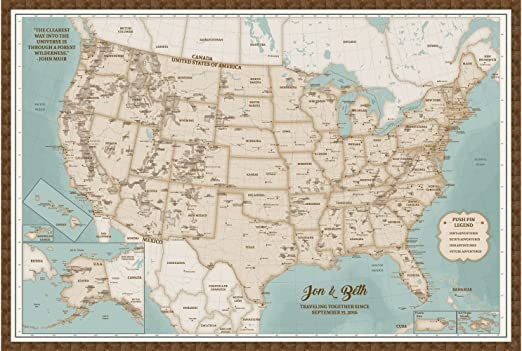 Amazon Com Push Pin Maps Us Map Cork Board Framed Personalized