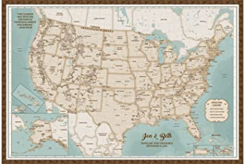 Amazoncom US Map Cork Board Framed Personalized USA National