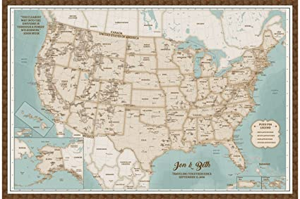 Amazon.com: US Map Cork Board Framed - Personalized USA National ...