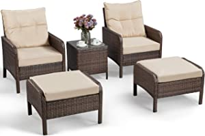 YAHEETECH 5pcs Patio Wicker Furniture Set, Outdoor Conversation Set Cushioned Sofa w/Ottomans and Coffee Table for Porch, Pool Balcony, Lawn