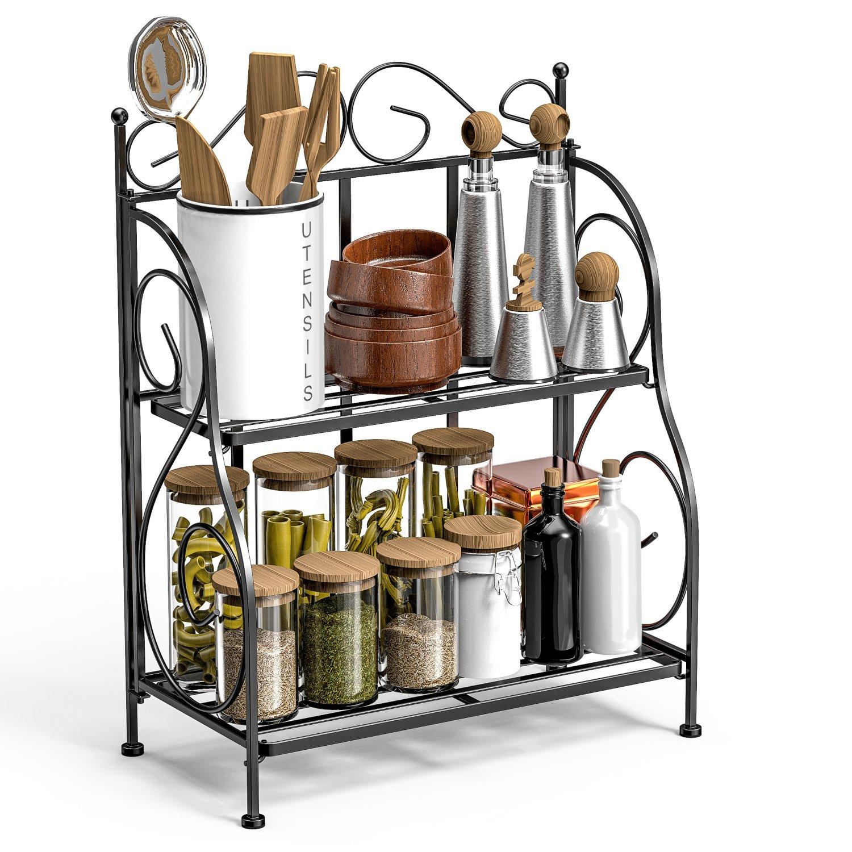 F-color Bathroom Countertop Organizer, 2 Tier Collapsible Kitchen Counter Spice Rack Jars Bottle Shelf Organizer Rack, Black