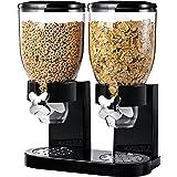 Denny International - Doble dispensador de cerealesfácil de usar con botes de plástico transparenteparamantener los alimentos frescos y secos, color blanco o negro