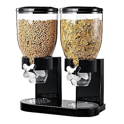 Denny International - Doble dispensador de cereales fácil de usar con botes de plástico transparente para mantener los alimentos frescos y secos, ...