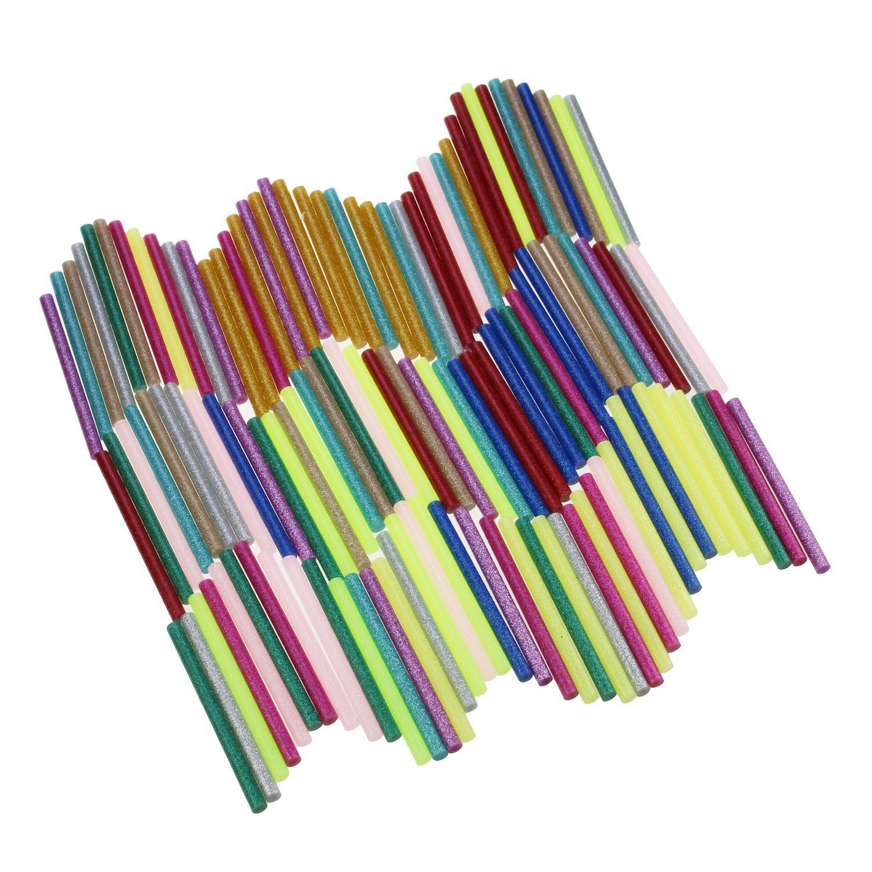 LJY 120 Pcs Glitter Hot Melt Glue Sticks for DIY Art Craft 7mm x 100mm (12 Colors)