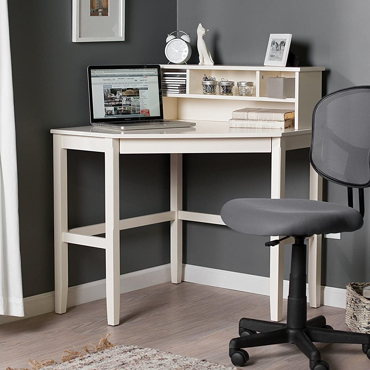 Corner Laptop Writing Computer Desk with Reverable Hutch and Sturdy Wooden Design Includes Our Exclusive Mouse Pad (Vanilla)