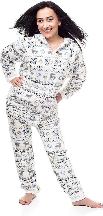 Kajamaz Pijama Entero sin pies para Adultos —Go-Jamz— de Navidad, Pijama Entero sin pies para Mujer, Pijama de una Pieza para Mujer