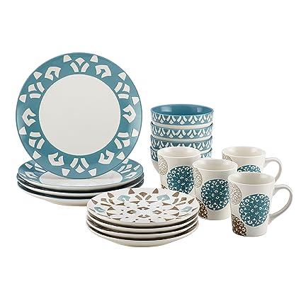 Amazon.com | Rachael Ray Pendulum 16-Piece Stoneware Dinnerware Set ...