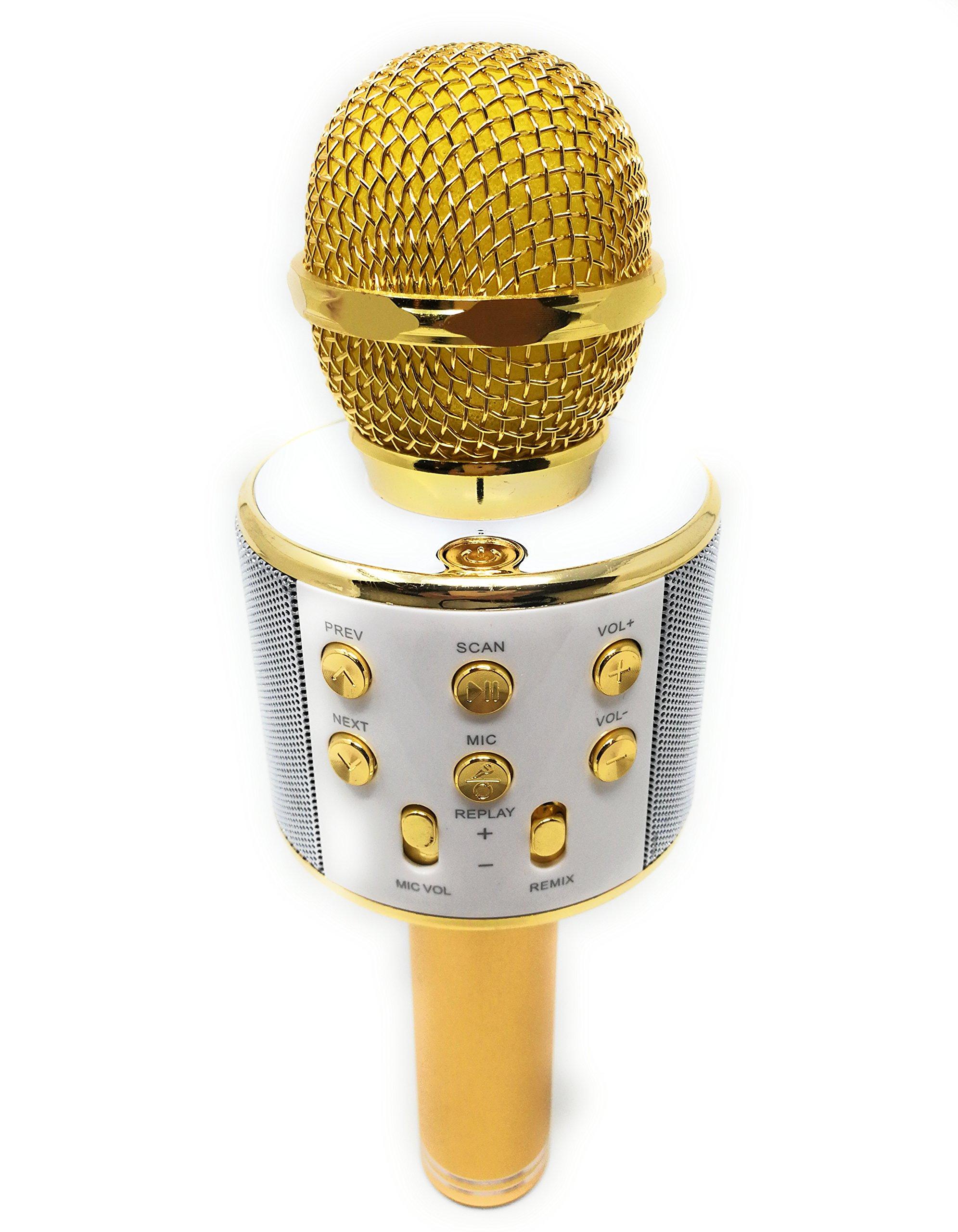 DLH MOBILE Portable Wireless Karaoke Microphone,Handheld Cellphone Karaoke Player Built-in Bluetooth HIFI Speaker, Selfie 3-in-1 Rechargeable Li-battery Karaoke KTV MIC Machine Gold (WS858) by DLH MOBILE (Image #1)